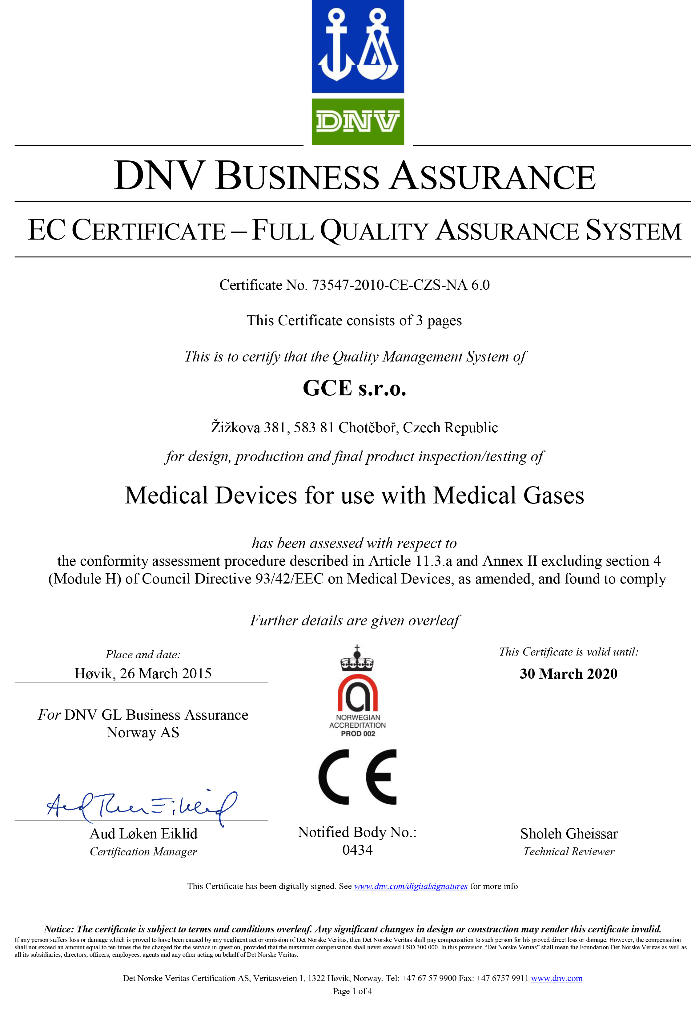 GCE Quality Standards and Certificates – Medical Certificate Download