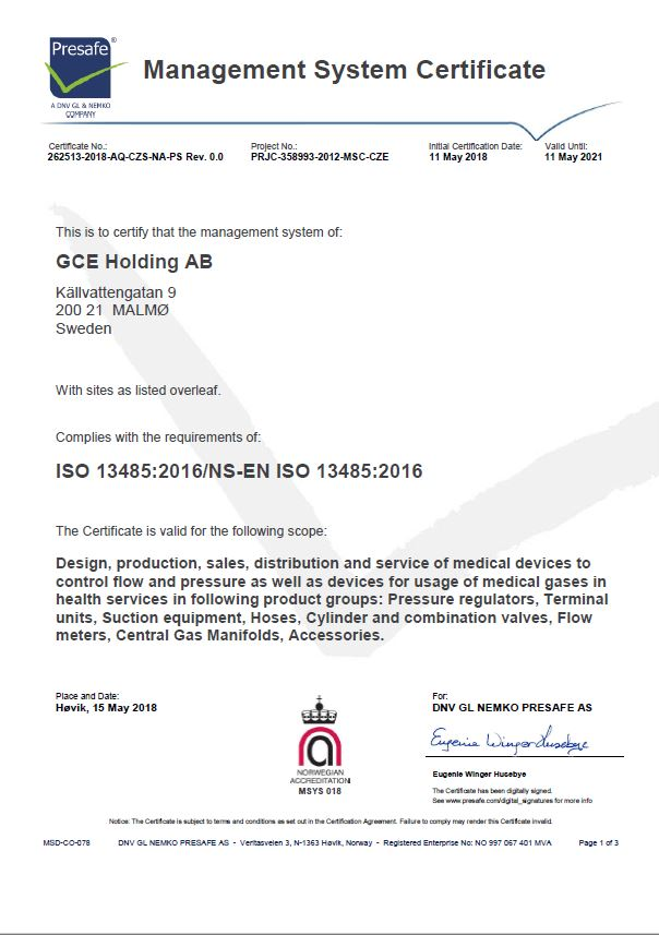 GCE Quality Standards and Certificates